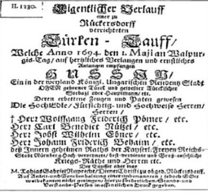 Savaş esiri bir yeniçerinin Almanca vaftiz belgesi