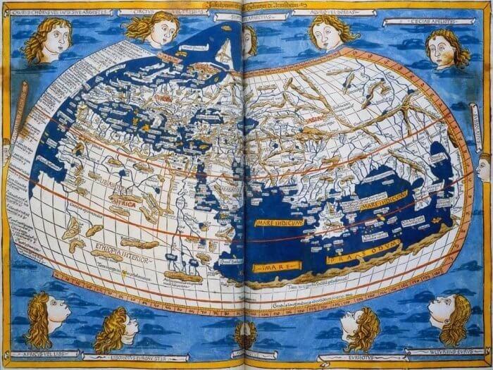 Batlamyus'un Dünya haritasının 15. yüzyıl çizimi