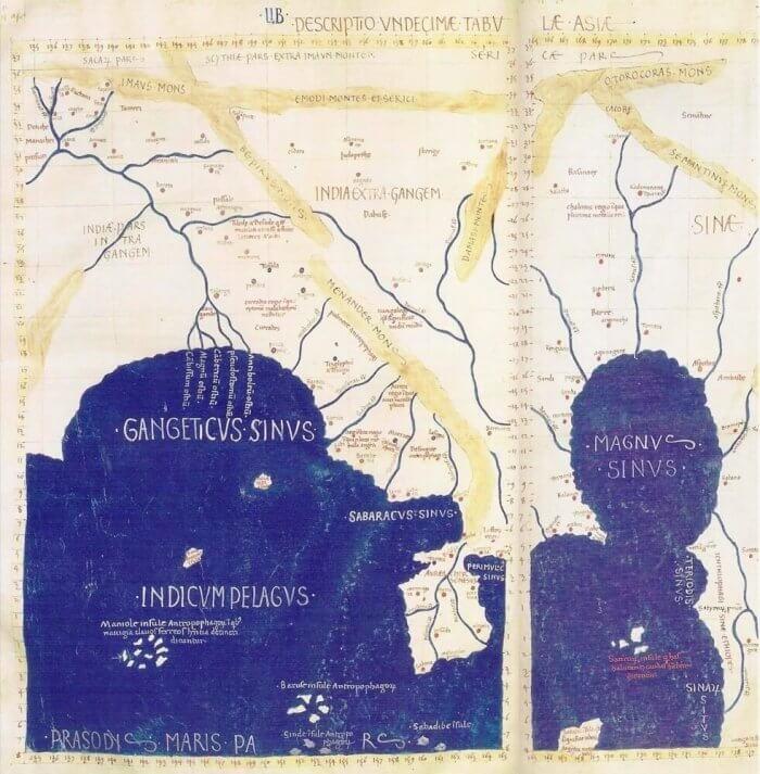 Batlamyus'un haritasında Doğu ve Güneydoğu Asya