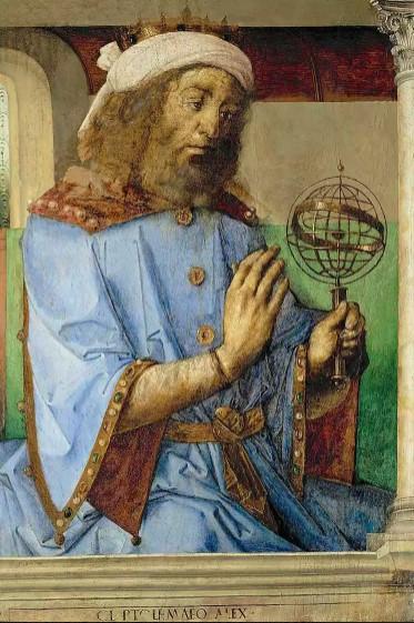 Claudius Ptolemy, gündönümü tarihlerini ve diğer göksel manzaraları tahmin etmek için kullanılan bir armillary küre ile