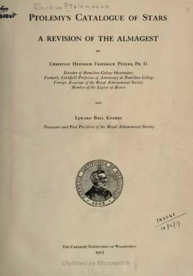 """Ptolemy'nin """"Almagest"""" sayfası Edward Ball Knobel tarafından çevrildi ve yeniden üretildi."""